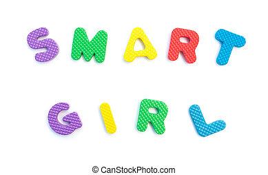 palavra, dado forma, alfabeto, quebra-cabeças, branca, menina, esperto