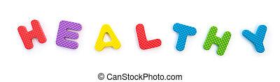 palavra, dado forma, saudável, alfabeto, quebra-cabeças, branca