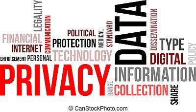palavra, -, dados, nuvem, privacidade