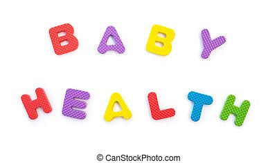 palavra, de, bebê, saúde, dado forma, por, alfabeto, quebra-cabeças, branco