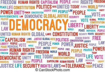 palavra, democracia, nuvem