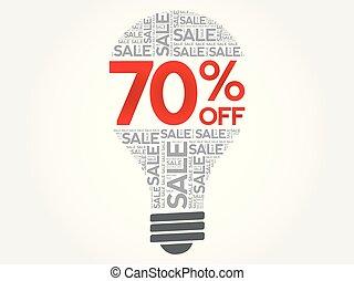 palavra, desligado, venda, bulbo, 70%, nuvem
