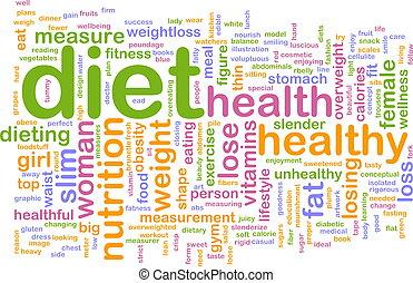 palavra, dieta, nuvem