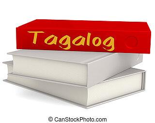 palavra, difícil, cobertura, livros, tagalog, vermelho
