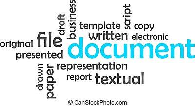 palavra, documento, -, nuvem