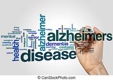 palavra, doença, nuvem, alzheimers