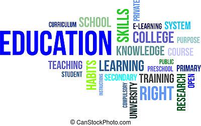 palavra, educação, -, nuvem