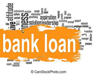 palavra, empréstimo, banco, laranja, bandeira, nuvem