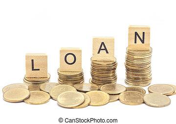 palavra, empréstimo, conceito, ligado, bloco madeira, sobre, ligado, empilhado, moedas.