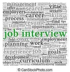 palavra, entrevista trabalho, nuvem, conceito, tag