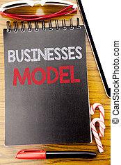 palavra, escrita, negócios, model., conceito negócio, para, projeto, para, negócio, escrito, ligado, a, caderno, livro, madeira, fundo, com, pegajoso, óculos de sol, e, vermelho, caneta