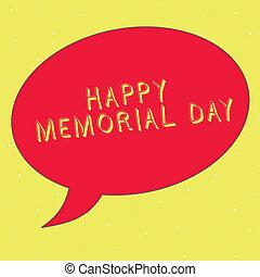 palavra, escrita, texto, feliz, memorial, day., conceito negócio, para, honrando, lembrar, esses, quem, morrido, em, militar, serviço