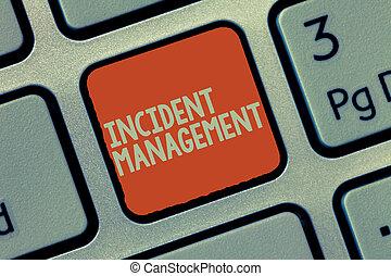 palavra, escrita, texto, incidente, management., conceito negócio, para, processo, retornar, serviço, para, normal, correto, perigos
