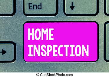palavra, escrita, texto, lar, inspection., conceito negócio, para, exame, de, a, condição, de, um, lar, relatado, propriedade
