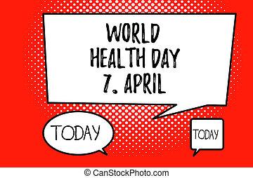 palavra, escrita, texto, mundo, saúde, dia, 7, april., conceito negócio, para, global, dia, de, consciência, para, diferente, saúde, tópicos