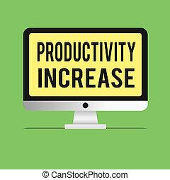 palavra, escrita, texto, produtividade, increase., conceito negócio, para, adquira, mais, coisas, feito, saída, por, unidade, de, produto, entrada