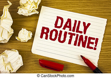 palavra, escrita, texto, rotina diária, motivational, call., conceito negócio, para, todos os dias, bom, hábitos, para, trazer, mudanças, escrito, ligado, lágrima, notepad, papel, ligado, madeira, fundo, marcador, empapele bolas, perto, aquilo