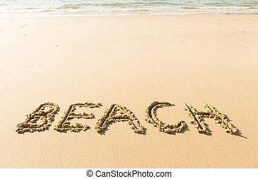 palavra, escrito, praia