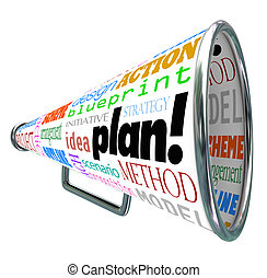 palavra, espalhar, idéia, estratégia, bullhorn, plano,...