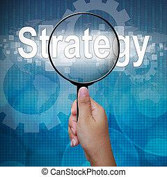palavra, estratégia, vidro, fundo, magnificar