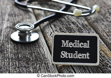palavra, estudante, quadro-negro, médico, escrito, madeira, estetoscópio, fundo, concept-medical