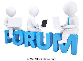 palavra, fórum, sentando, laptop, 3d, homem