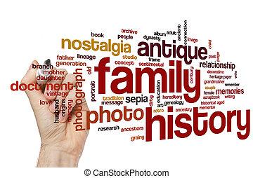 palavra, família, nuvem, história