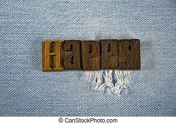 palavra, feliz, em, antigas, letterpress, tipo