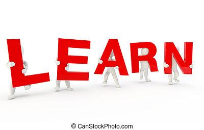 palavra, formando, humanos, aprender, vermelho, 3d