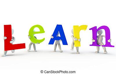 palavra, formando, humanos, colorfull, aprender, 3d