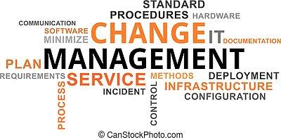 palavra, gerência, -, nuvem, mudança