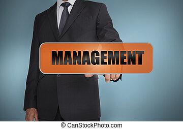 palavra, gerência, tocar, homem negócios