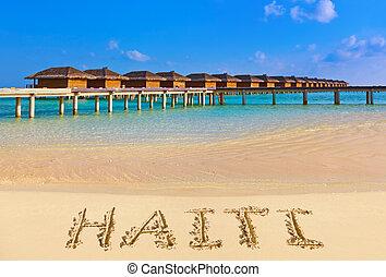 palavra, haiti, praia