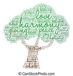 palavra, harmonia, nuvem