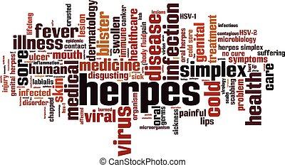 palavra, herpes, nuvem