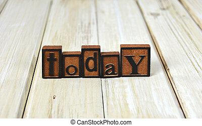 palavra, hoje, em, letterpress, tipo