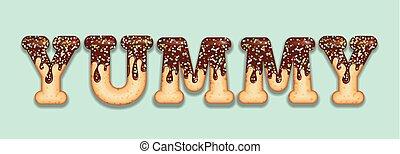 "palavra, icing, ""yummy"", candy., text., chocolate, typography., donut, tentando, glazed, letras"