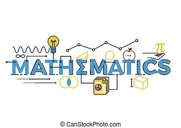 palavra, ilustração, matemática