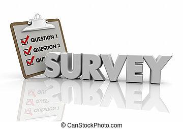 palavra, ilustração, perguntar, área de transferência, levantamento, perguntas, resposta, poll, 3d