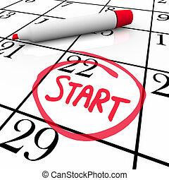 palavra, início, circundado, data, calendário, começar, dia,...