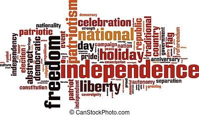 palavra, independência, nuvem