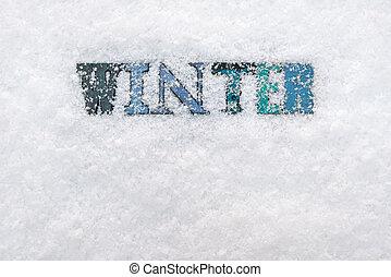 palavra, inverno, fundo, neve