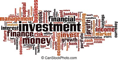 palavra, investimento, nuvem