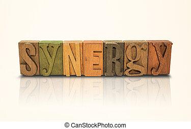 palavra, -, isolado, sinergia, fundo, letras, branca, bloco
