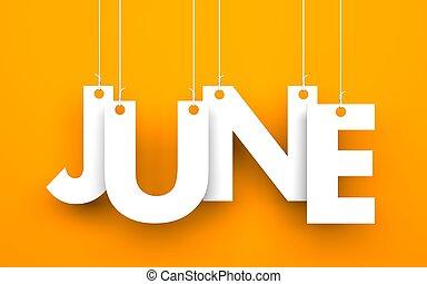 palavra, junho, cordas, penduradas