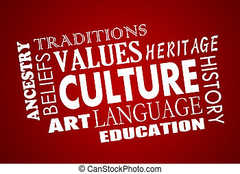 palavra, língua, colagem, ilustração, cultura, herança, diversidade, 3d