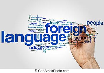 palavra, língua, nuvem, estrangeiro