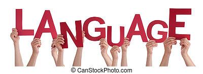 palavra, língua, pessoas, muitos, segurar passa, vermelho