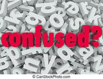 palavra, letra, perdido, confundido, disoriented, fundo