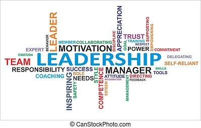 palavra, liderança, -, nuvem